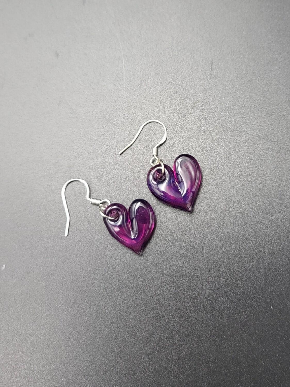 Marni (CO) Solid Heart Earring Set - Purple