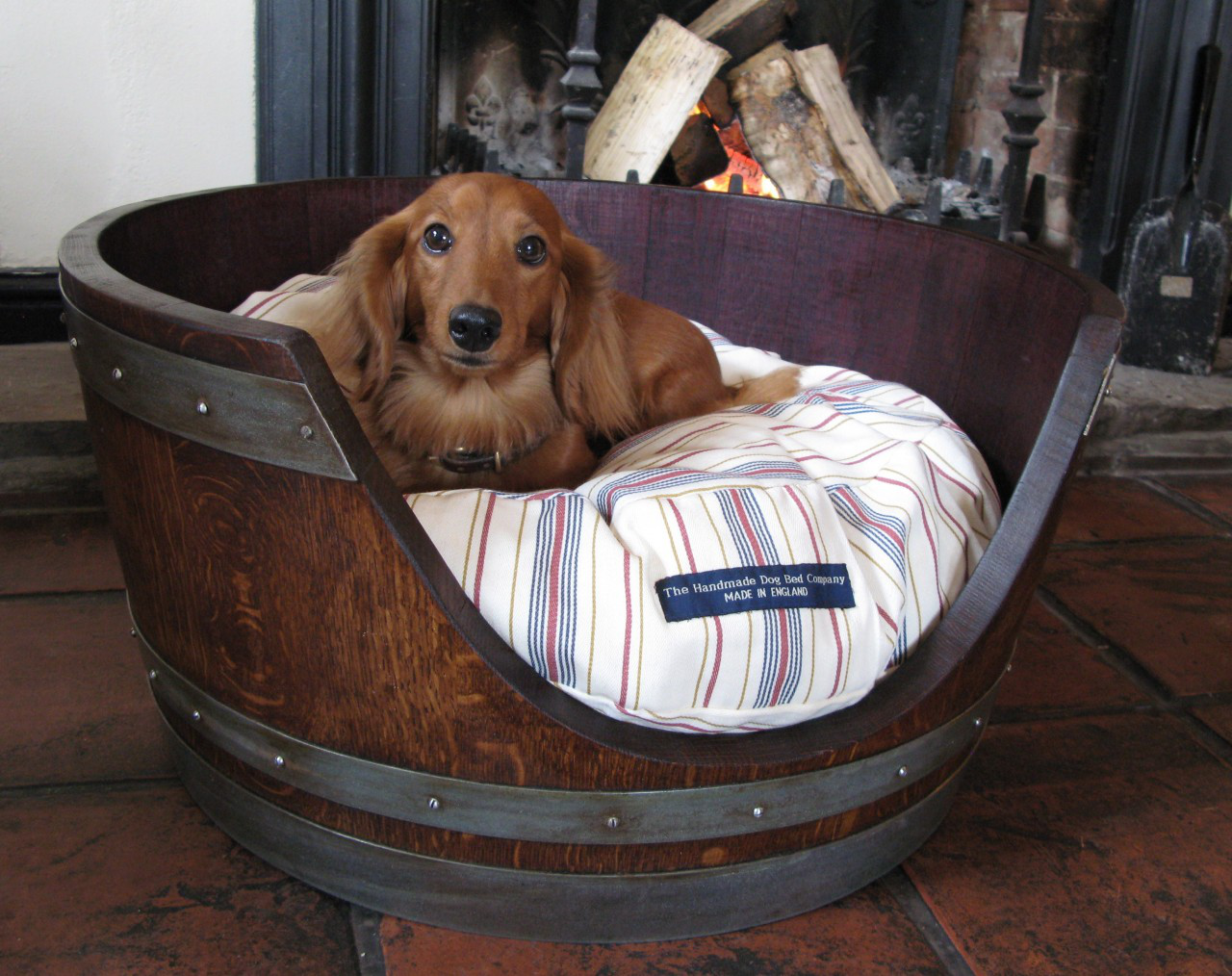 Dog bed whiskey barrels