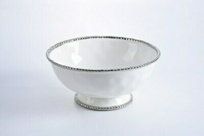 Pampa Bay White and Silver Footed Bowl