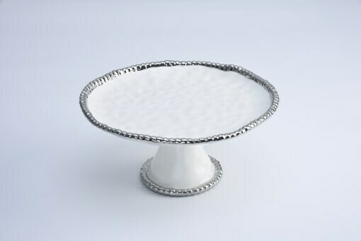 Pampa Bay White and Silver Cake Stand
