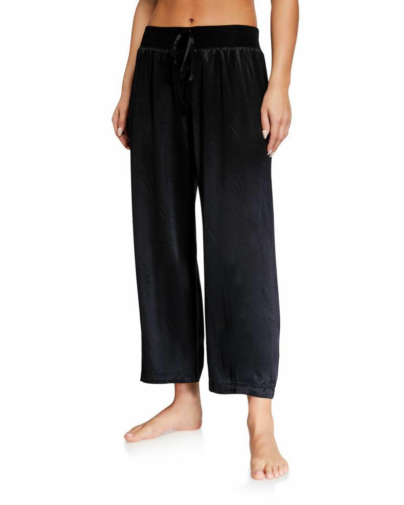 PJ Harlow Jolie Capri Satin Pants Black S