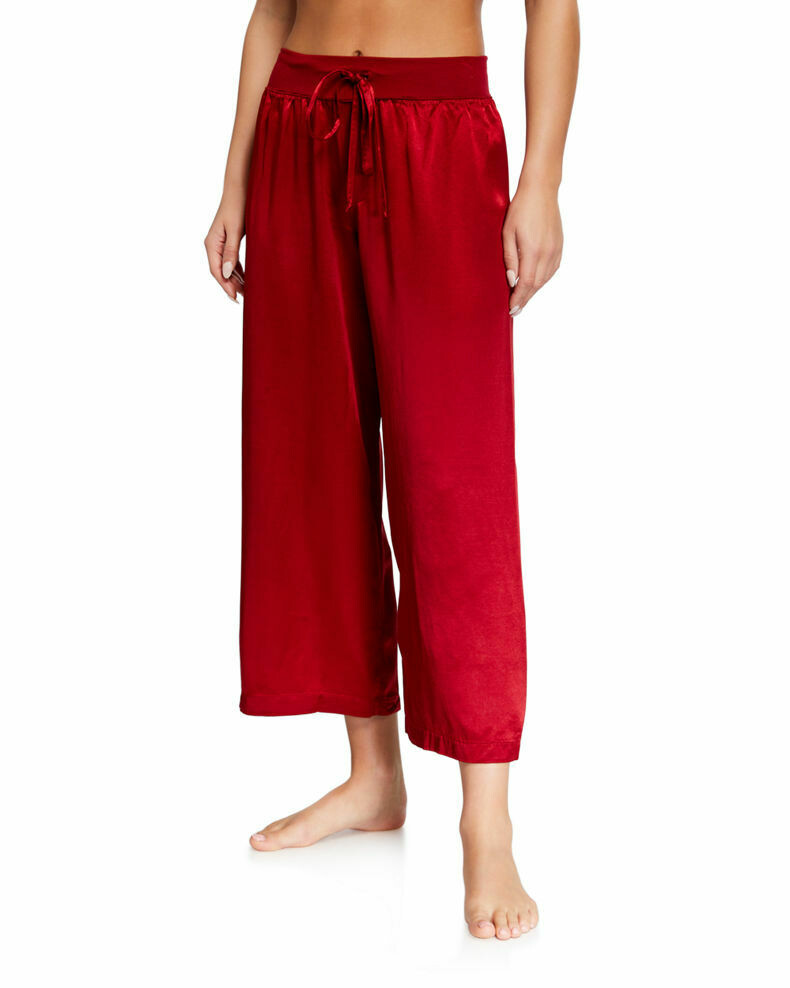 PJ Harlow Jolie Capri Satin Pants Red XS