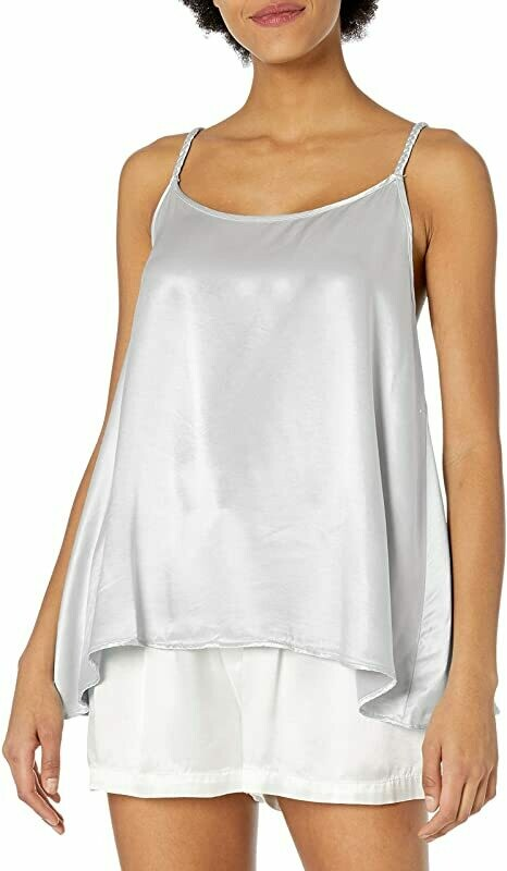 PJ Harlow Daisy Satin Cami with Braided Straps Silver M
