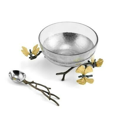 Butterfly Ginkgo Glass Serving Dish