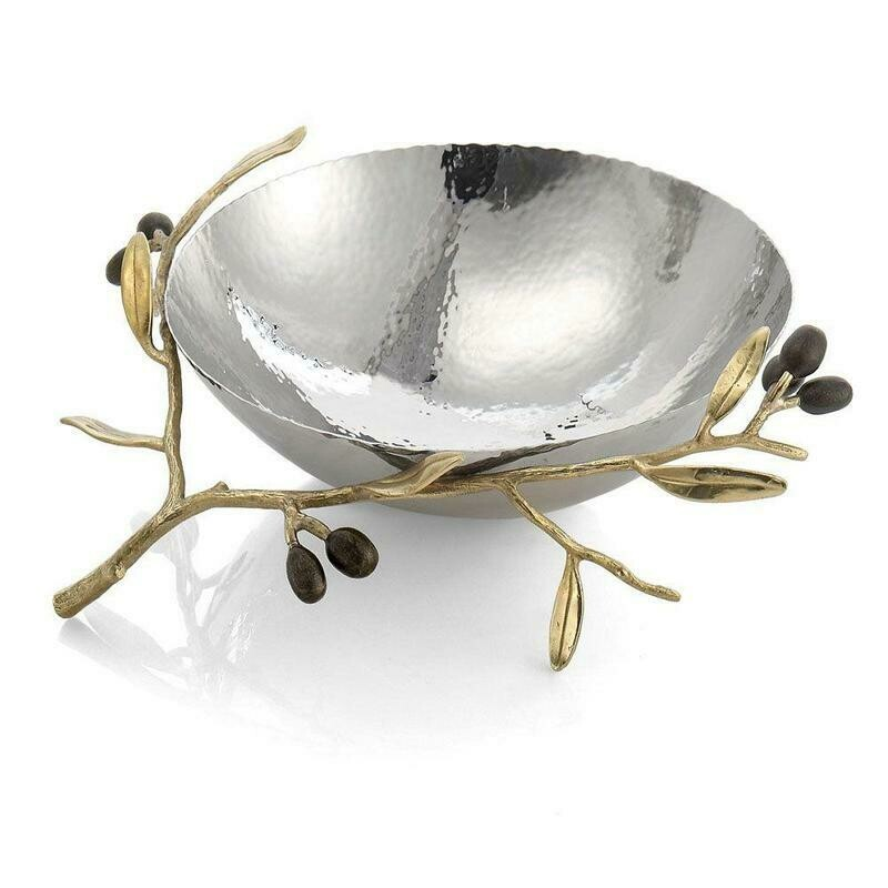 Olive Branch Gold Steel Bowl by Michael Aram