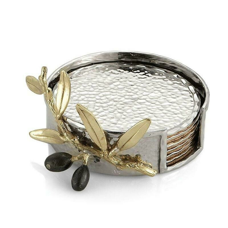 Olive Branch Gold Drink Coaster Set by Michael Aram