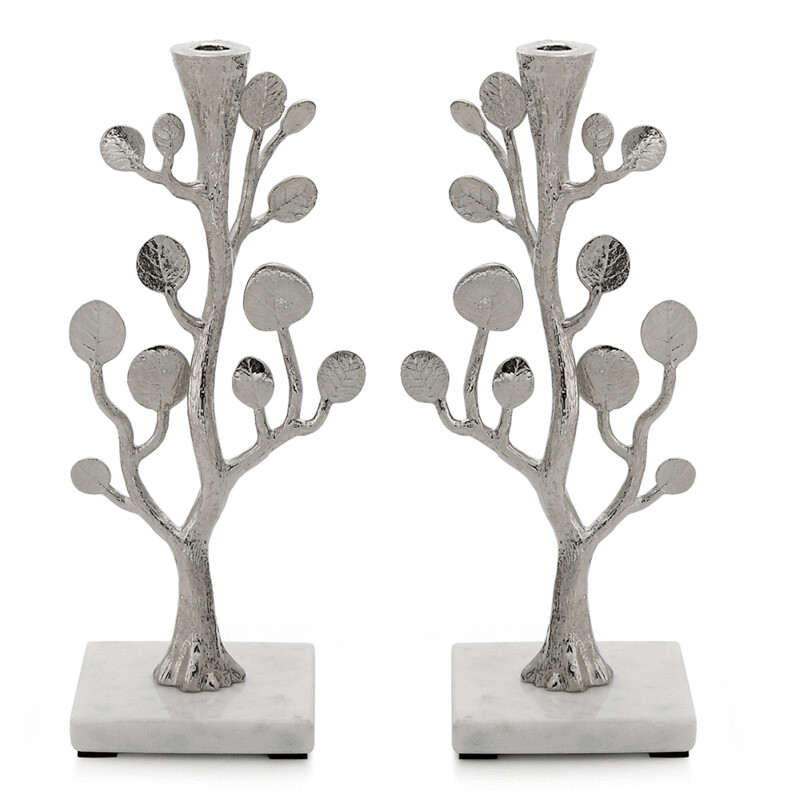 Michael Aram Set of 2 Leaf Candleholders