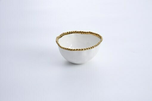 Pampa Bay White and Gold Porcelain Small Bowl
