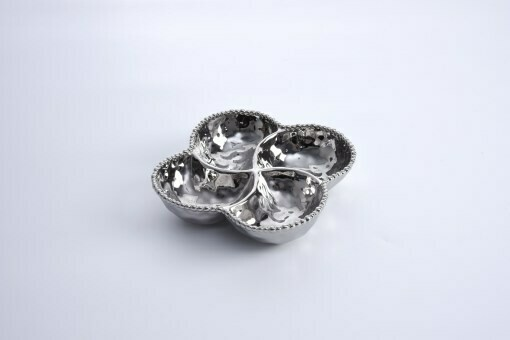 Pampa Bay Silver Porcelain 4-Section Bowl