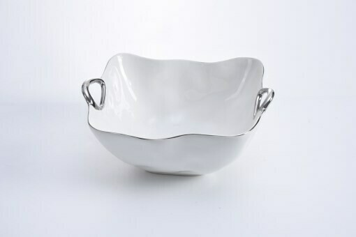 Porcelain Large Square Bowl by Pampa Bay