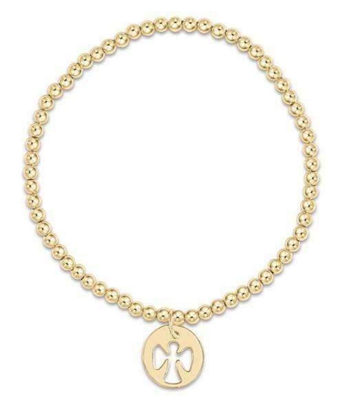 enewton Gold 3mm Bead Bracelet with Guardian Angel