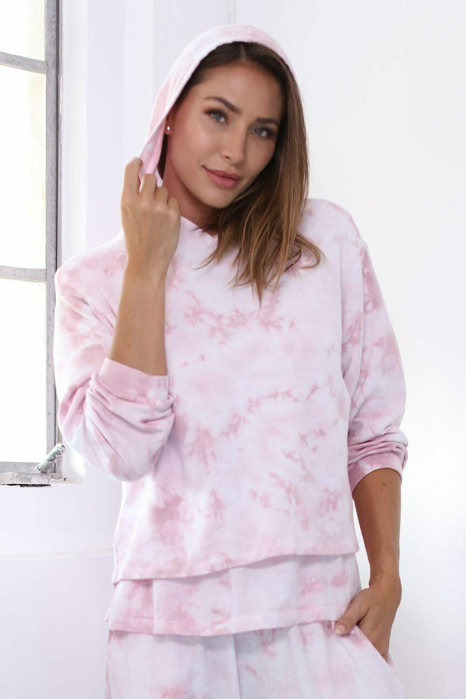PJ Harlow Diana Hooded Tie Dye Sweatshirt Pink 1