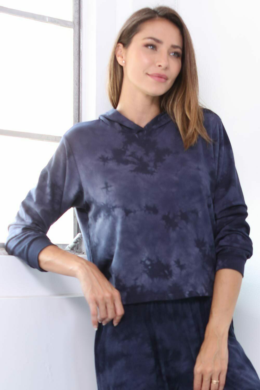 PJ Harlow Diana Hooded Tie Dye Sweatshirt Navy 2
