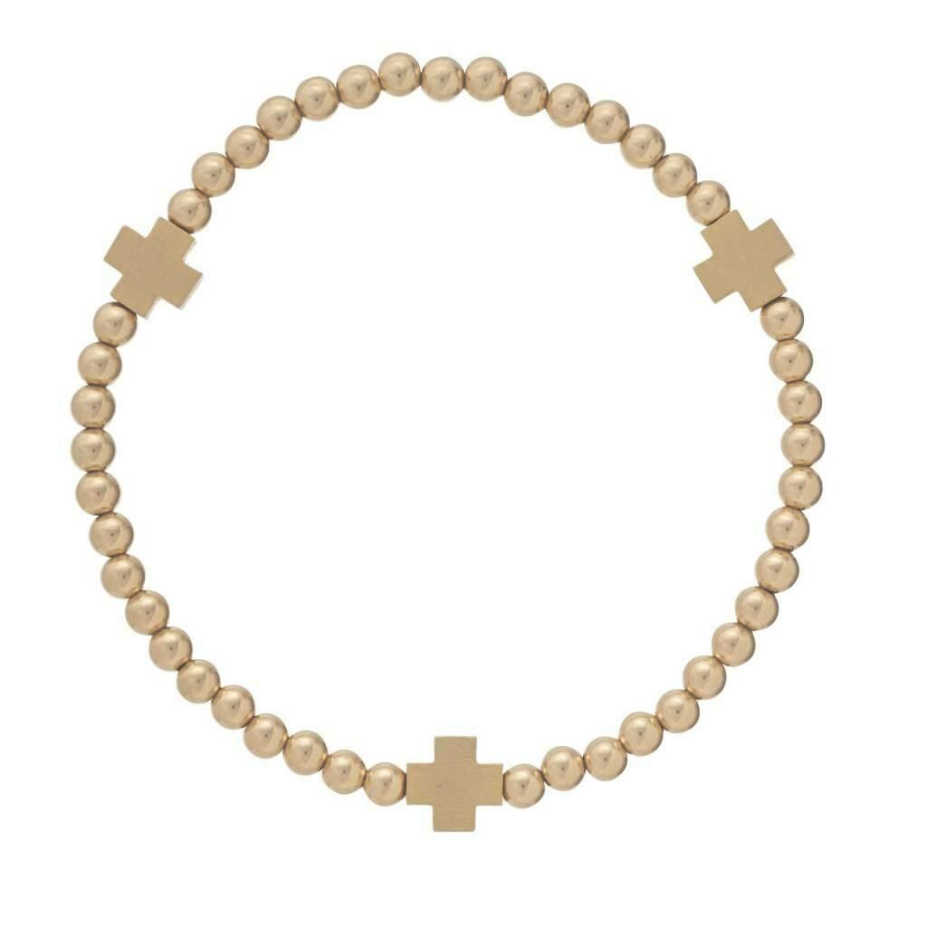 enewton Signature Cross Gold 4mm Bead Bracelet