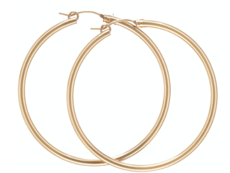 """Smooth Round Gold 2"""" Post Hoop, 3 mm"""