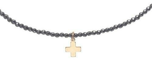 "15"" Faceted Hematite Choker 2mm Bead with Signature cross"