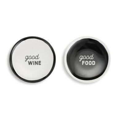 Set of 2 Wine Plates, Good Food
