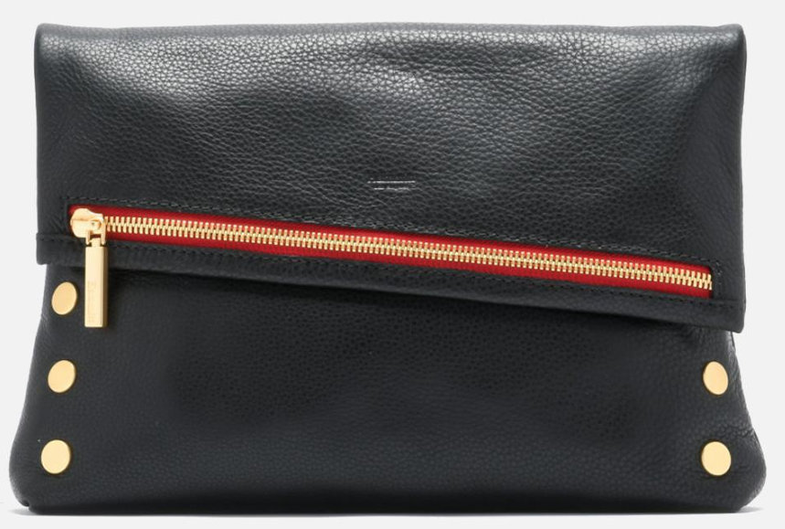 VIP Large Black with Brushed Gold Hardware and Red Zipper