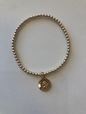 enewton Classic Gold 3mm Bead Bracelet, Protection Gold Disk