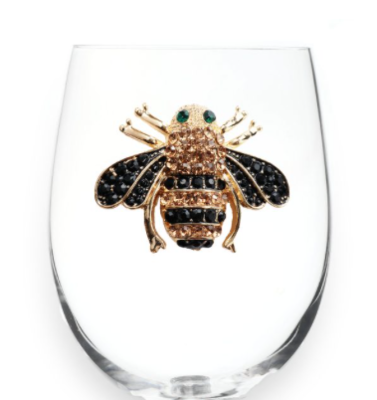Queen Bee Jeweled Stemless Glass