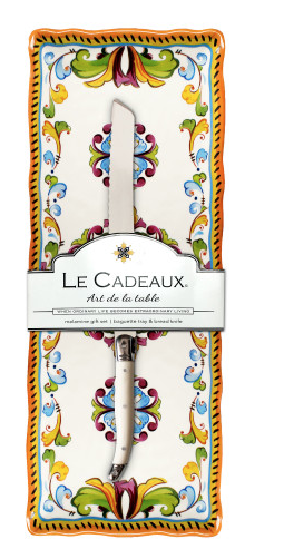 Le Cadeaux Baguette Tray with Bread Knife