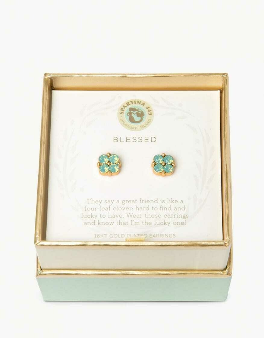 Spartina Blessed Earrings in Sea Foam Clover