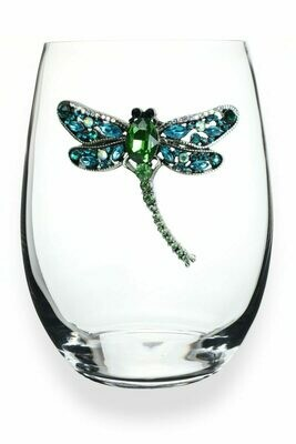 Dragonfly Jeweled Stemless Glass