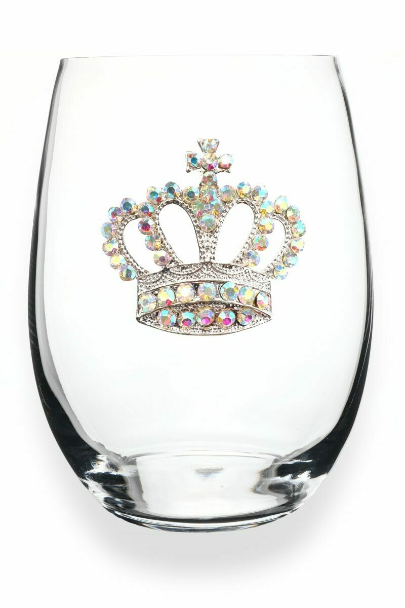 Aurora Borealis Crown Jeweled Stemless Glass