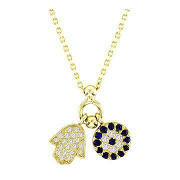 Hamsa and Mosaic Evil Eye Necklace
