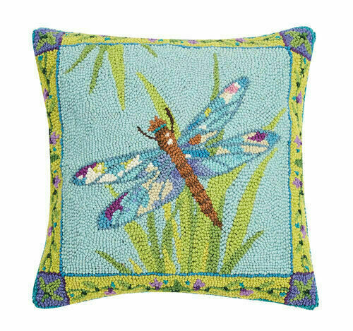 Dragonfly Pillow Hand Hooked