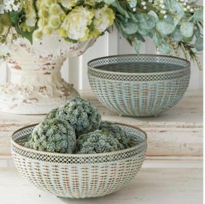 Small Rattan Verdigris Woven Bowl
