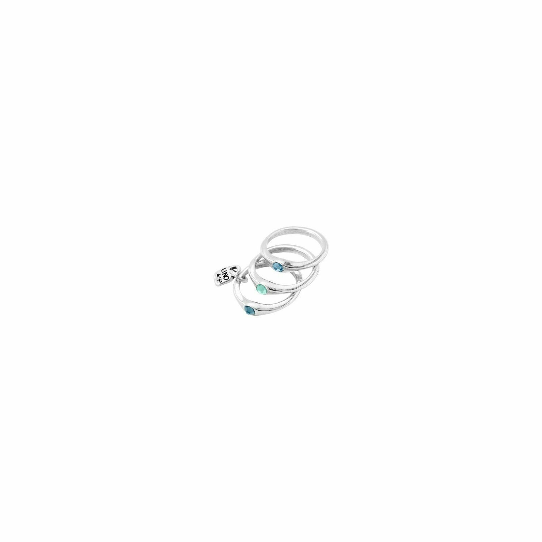 Happy Blue Silver Rings