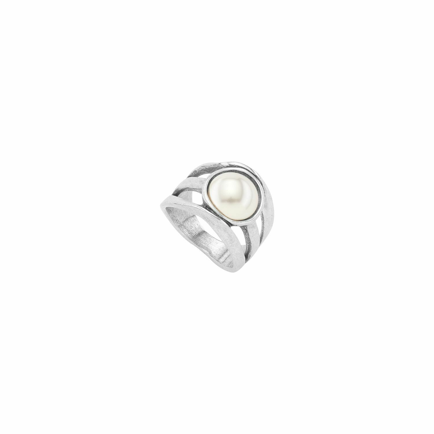 Lucky Strike Silver Pearled Crystal Ring