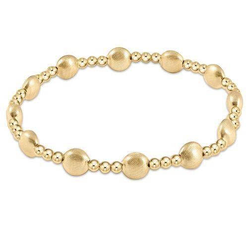 Honesty Gold Sincerity Pattern 6mm Bead Bracelet