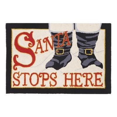 Santa Stops Here Hook Rug