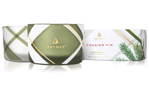 Frasier Fir Frosted Plaid Candle Set