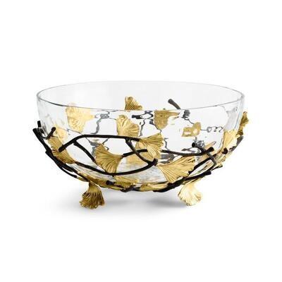 Golden Ginkgo Medium Glass Bowl