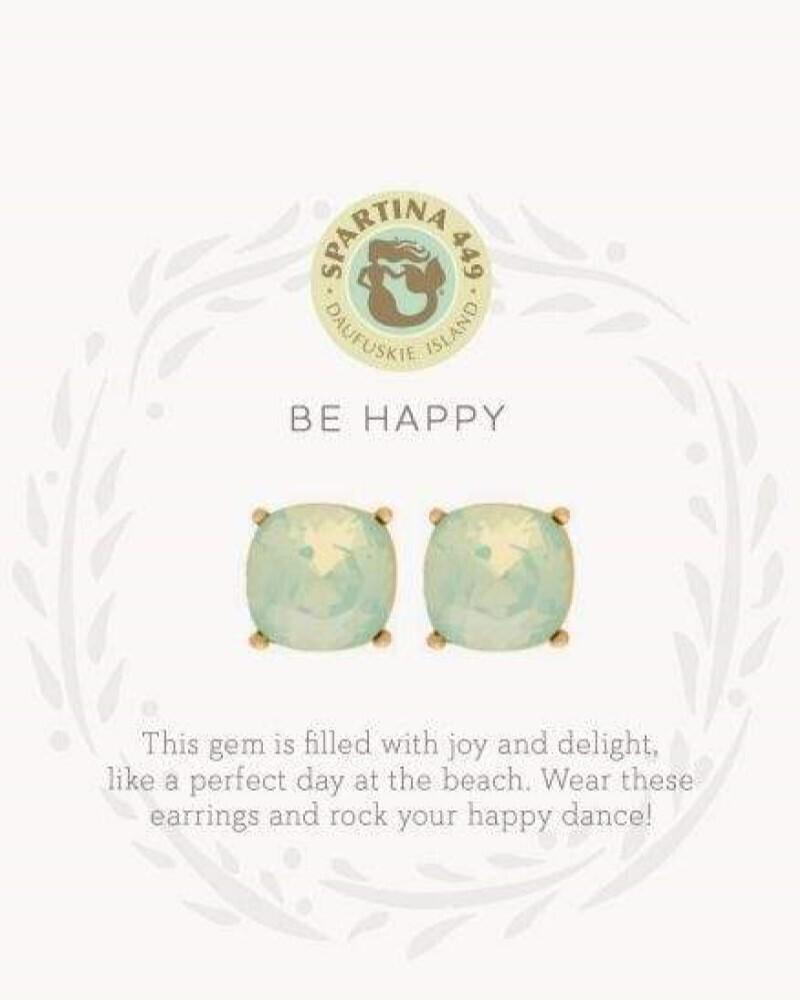 Be Happy Sea Green Gold Earrings