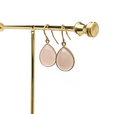 Elemental Rosé Earrings - Pink Chalcedony - (14KT)