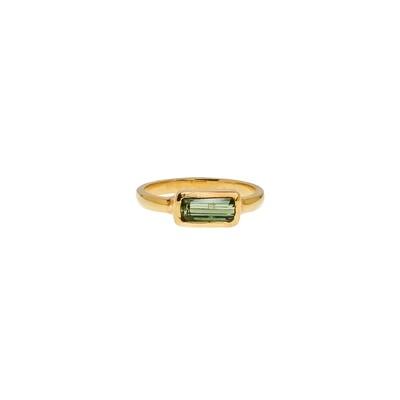 The Elemental Bezel Ring - Green Tourmaline - 6.5⌀ (Vermeil)