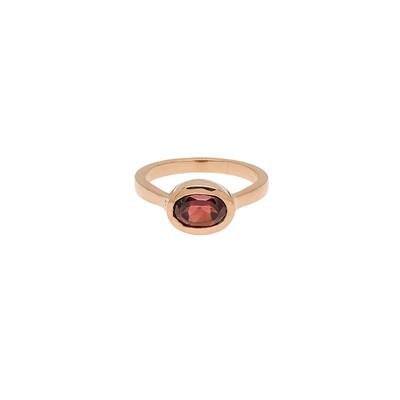The Elemental Bezel Ring - Garnet - 5⌀ (S925)