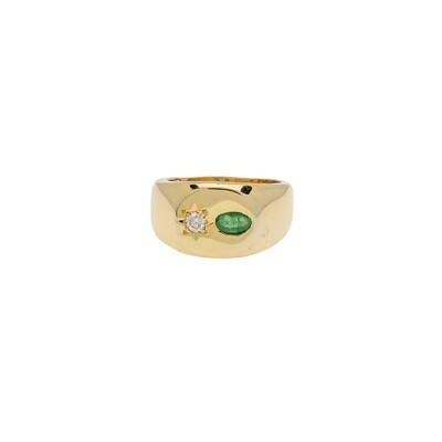 The Elemental Signet Ring -  Emerald & Moissanite - 5.5⌀ (Vermeil)