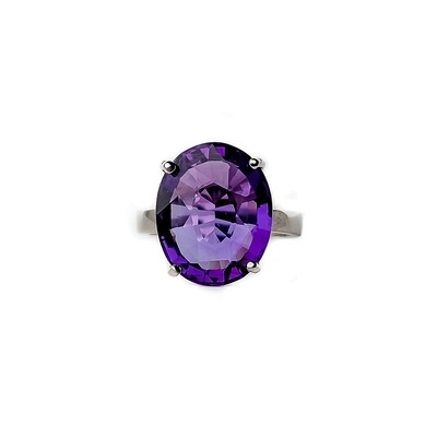 The Elemental Solitaire Ring - Amethyst- 5⌀ (Vermeil)