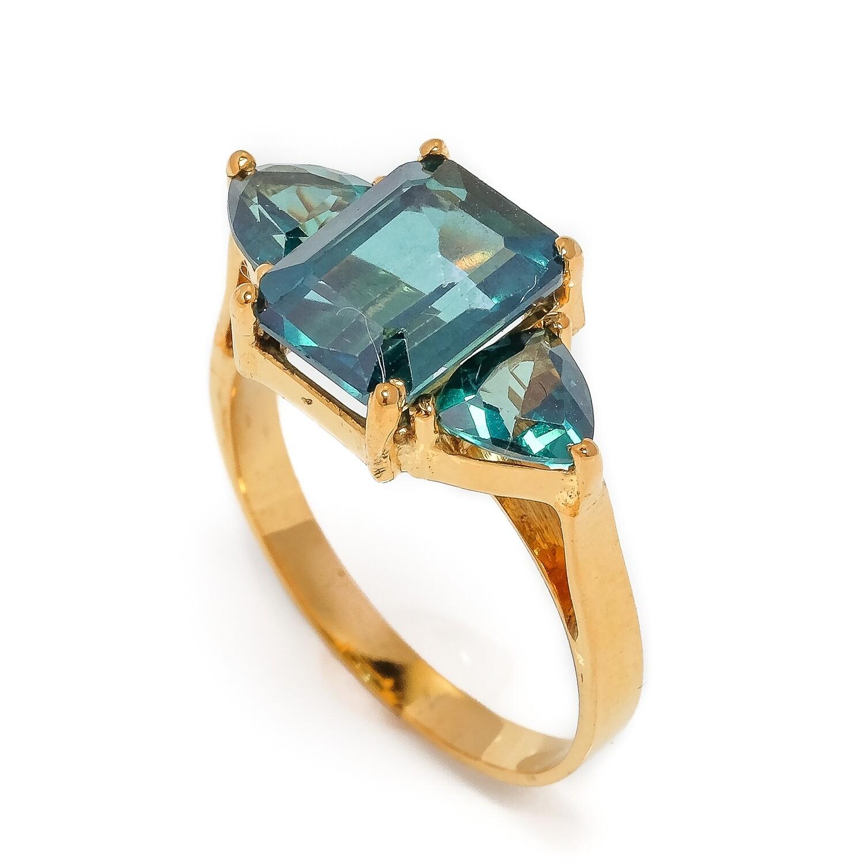 The Elemental 3-Stone Ring - Topaz - 6⌀ (14KT)