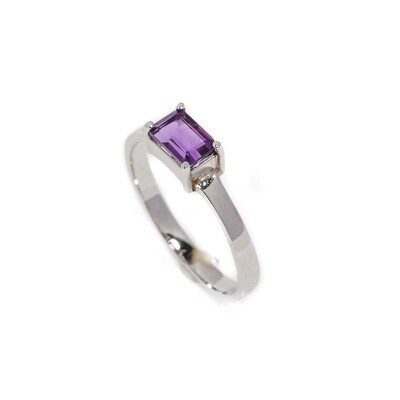 The Elemental Solitaire Ring - Amethyst - 6.5⌀ (14KT)