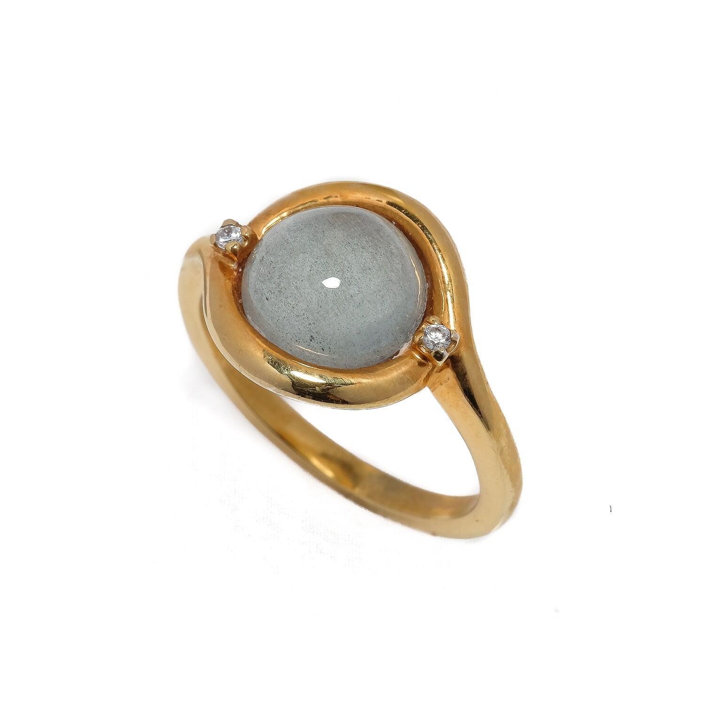 Elemental Bezel Ring - Aquamarine, CZ - 7⌀ (Vermeil)