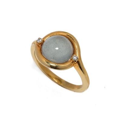 The Elemental Bezel Ring - Aquamarine, CZ - 7⌀ (Vermeil)