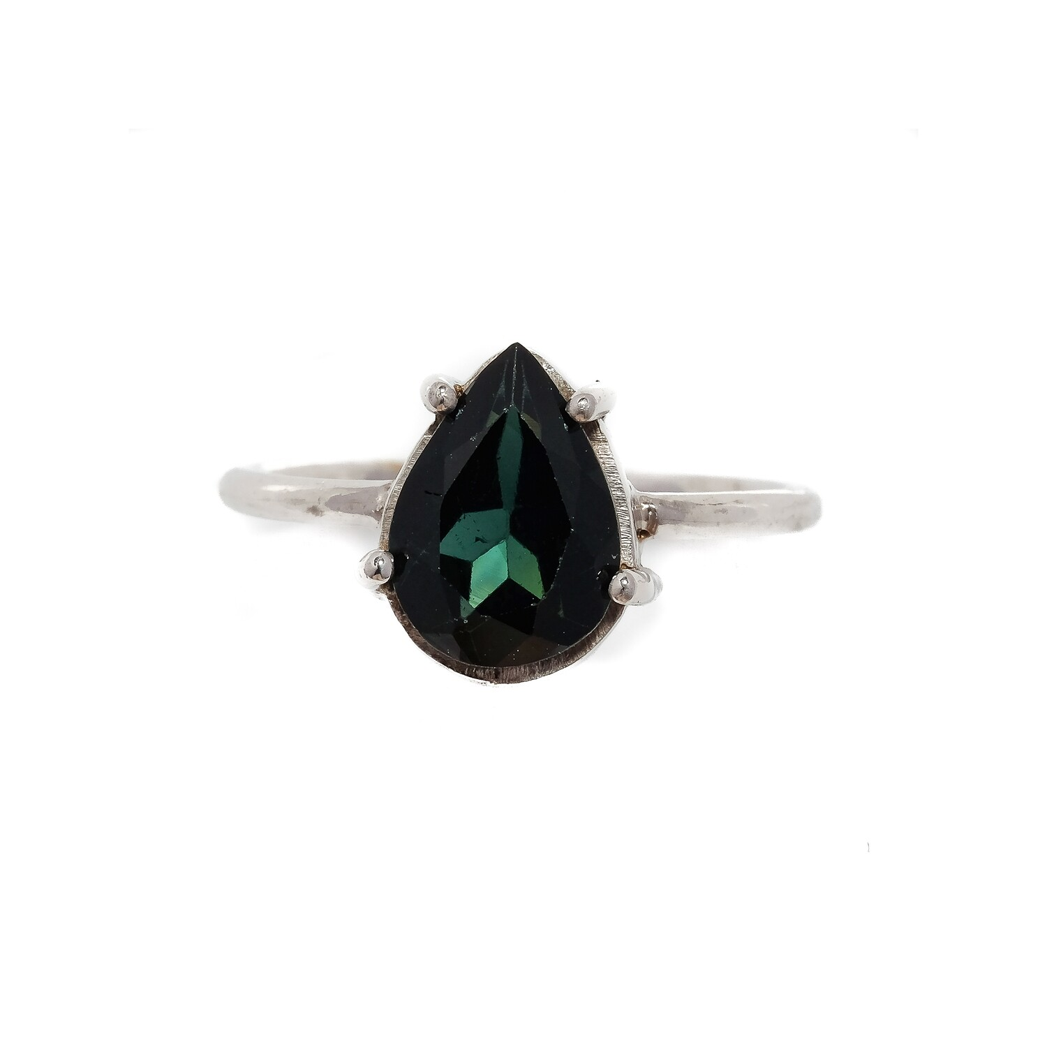 The Elemental Solitaire Ring - Green Tourmaline - 7⌀ (S925)