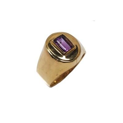 The Elemental Signet Ring - Amethyst- 5⌀ (Vermeil)
