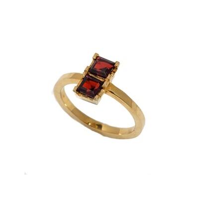 The Elemental Dainty Ring - Garnet - 5⌀ (Vermeil)